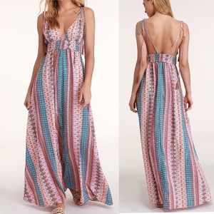 Lulu's | Maxin Relaxin Multi Print Maxi Dress